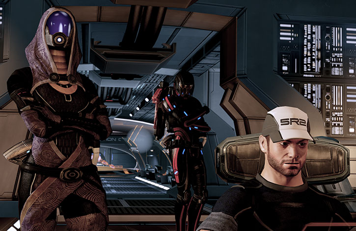 Tali vas Normandy with Joker and Commander Shepard at the helm