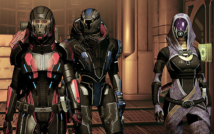 Tali vas Normandy with Commander Shepard and Garrus Vakarian in their hardsuits