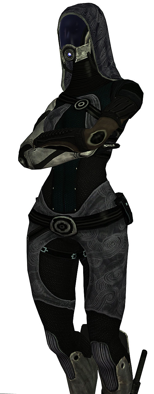 Tali'Zorah (Mass Effect) with arms crossed