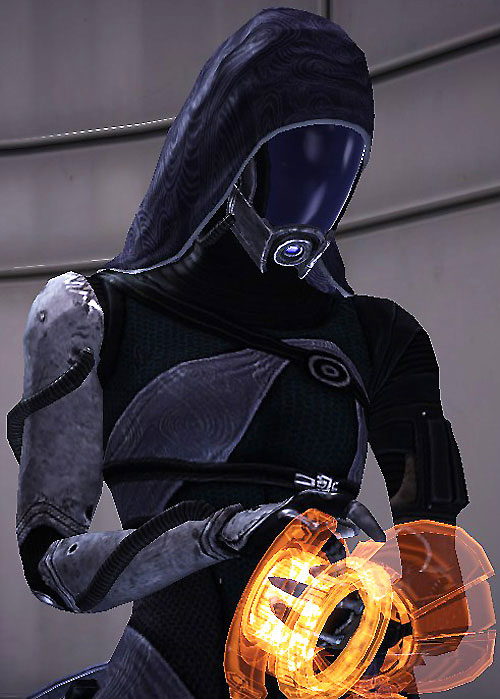 Tali'Zorah (Mass Effect) using her omni-tool