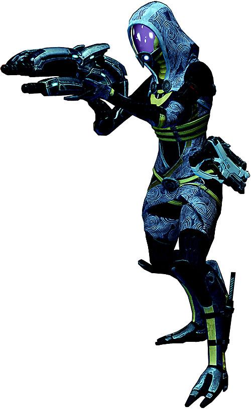 Tali'Zorah vas Normandy (Mass Effect) pointing a geth shotgun