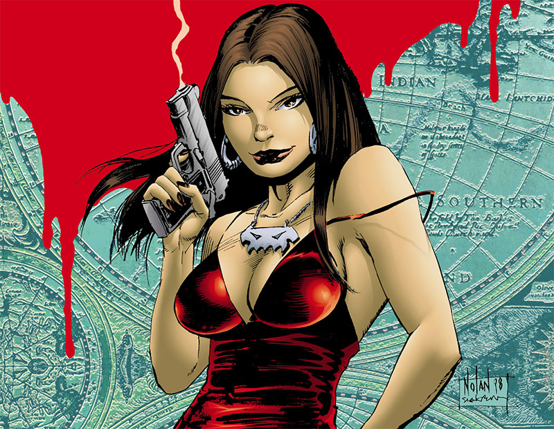 Talia al Ghul (DC Comics) with a smoking pistol
