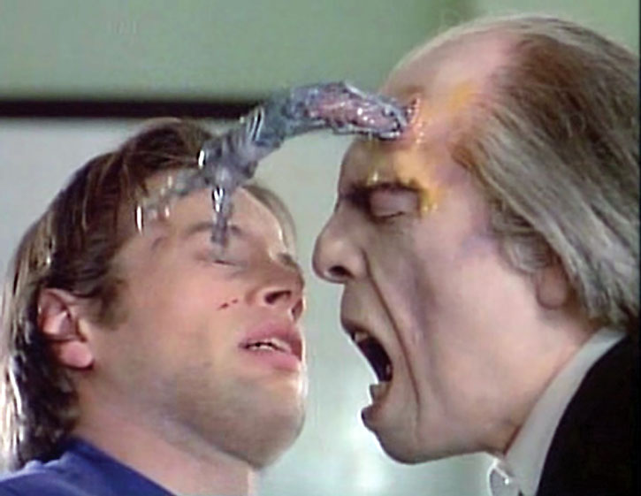 The Tall Man (Angus Scrimm) extruding a tentacle from his forehead