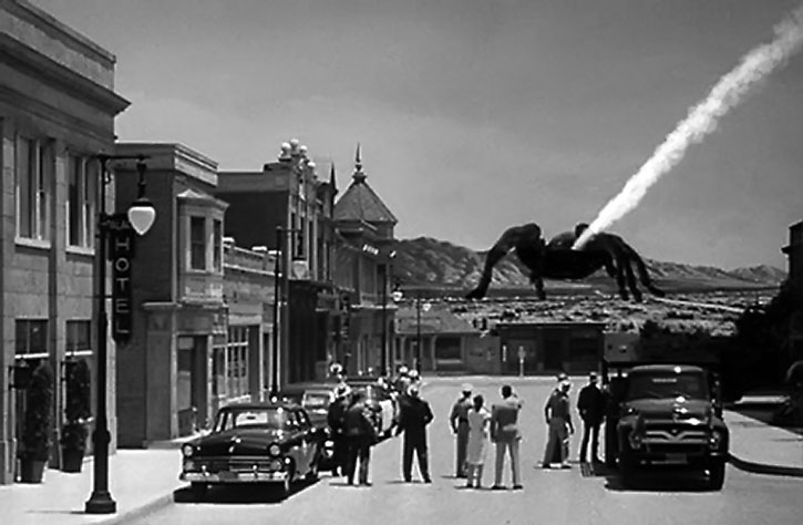 Gigantic tarantula seen from a small town, from the 1955 movie