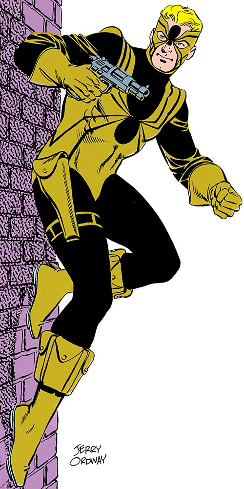 Tarantula (John Law) (DC Comics) sticking to a wall