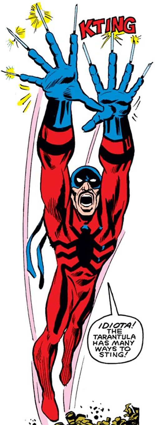 Tarantula (Rodriquez) (Spider-Man enemy) leaps with his finger blades out