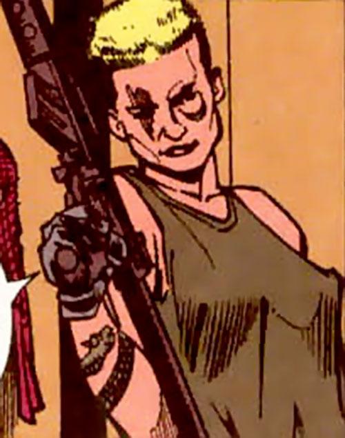 Tattoo of Dial V for Villain (Aztek enemy) (DC Comics)