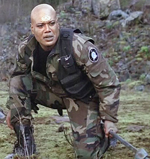 Teal'C (Christopher Judge in Stargate) in a US camo uniform