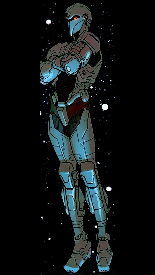 Tech Jacket (Image Comics) posing in space