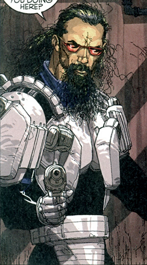 High-tech Middle-Eastern terrorist in a comic book