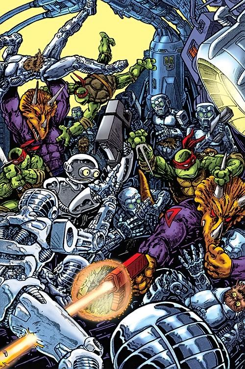 Teenage Ninja Mutant Turtles TMNT (Mirage comics) fighting triceratons and robots
