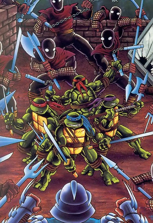 Teenage Ninja Mutant Turtles TMNT (Mirage comics) - surrounded by the Foot ninja