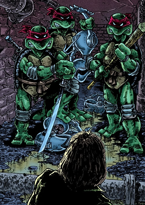 Teenage Ninja Mutant Turtles TMNT (Mirage comics) and smashed robots