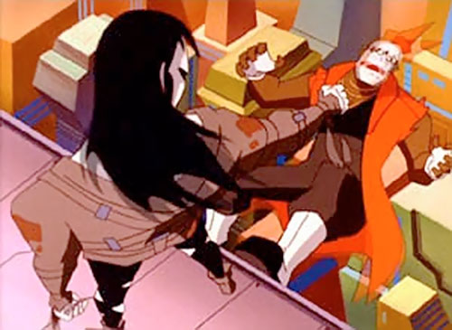 Terminal of the Jokerz (Batman Beyond enemy) terrorizing a man