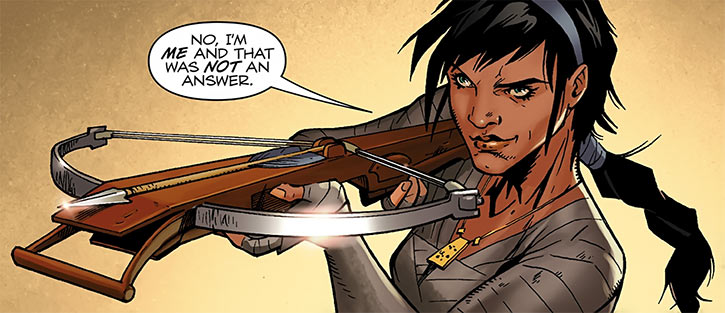 Tessa the Magekiller (Dragon Age comics) with crossbow