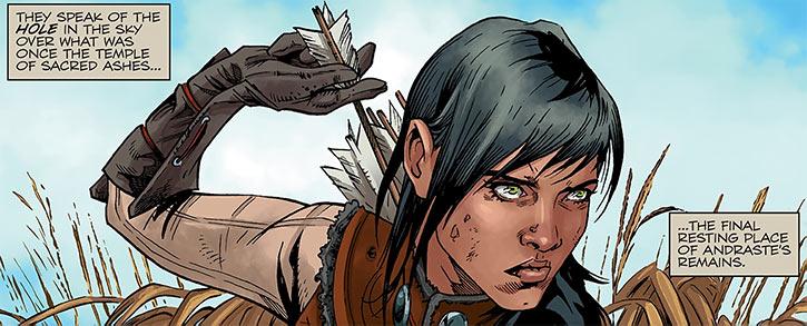 Tessa the Magekiller (Dragon Age comics) drawing arrow