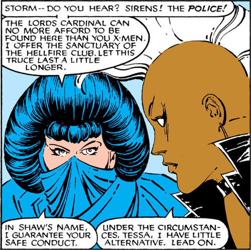 Tessa of the Hellfire Club (Marvel Comics X-Men) and punk Storm