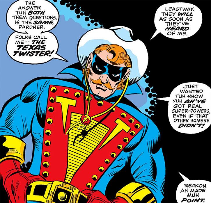 Texas Twister (Marvel Comics) grasping his belt
