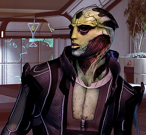 Thane Kryos (Mass Effect) talking near a bar