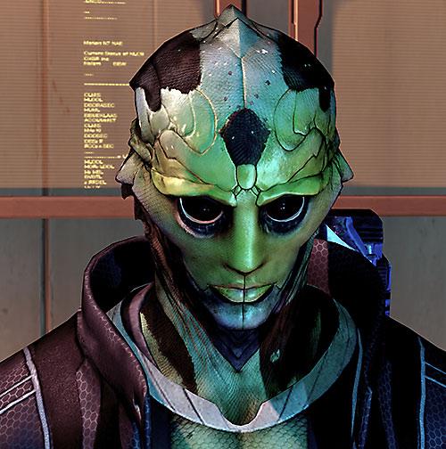 Thane Kryos (Mass Effect) lowered head
