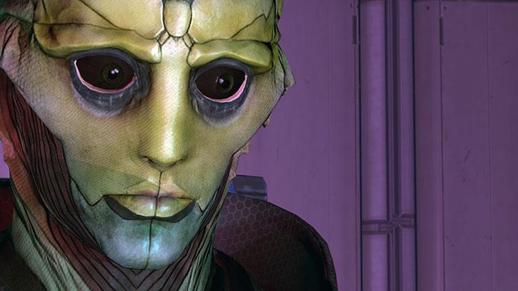 Thane Kryos face closeup