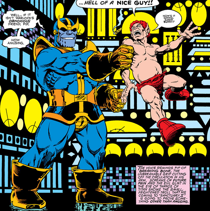Thanos grabs Pip the Troll