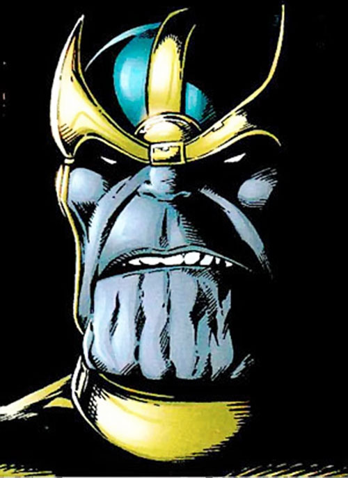 Thanos (Marvel Comics) face closeup over a black background