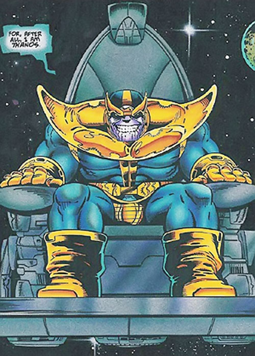 Thanos (Marvel Comics) on his flying throne