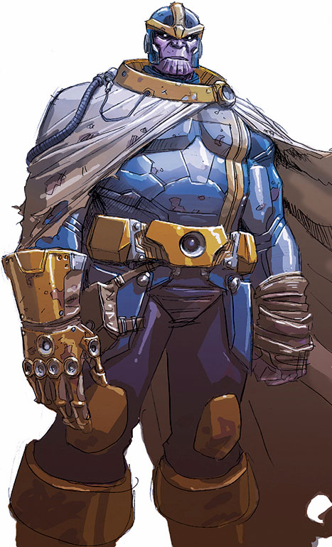 Thanos (Marvel Comics) wearing a ragged cloak