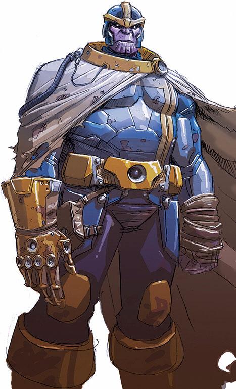 Thanos (Marvel Comics) wearing a ragged cloak