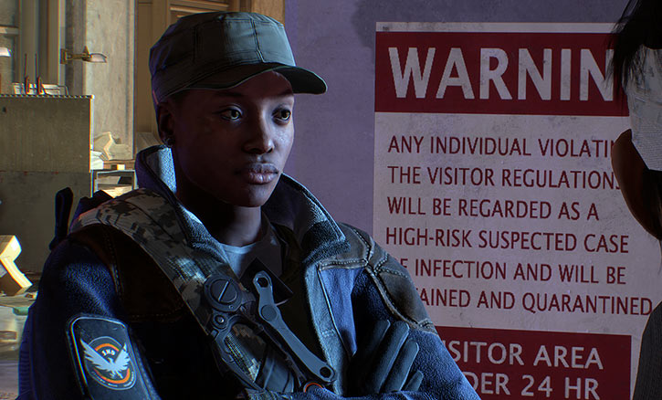 Sample The Division Ubisoft character - Black woman with military cap - Next to warning poster