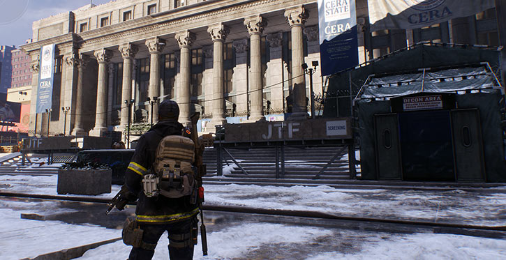 The Division video game - Ubisoft - Agent facing the post office base