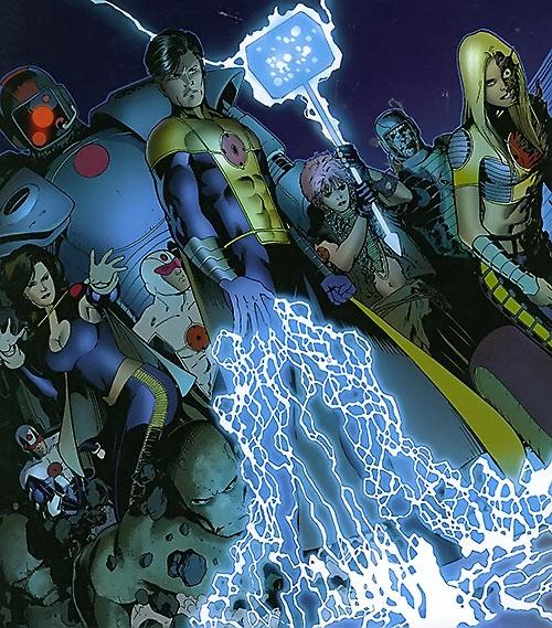 The Order (Marvel Comics) (Matt Fraction) with Anthem emitting lightning
