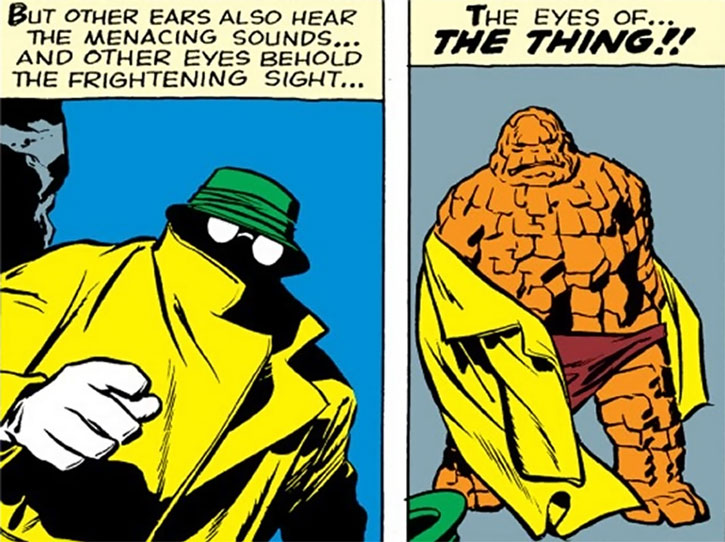 A very early Thing (Ben Grimm) sheds his disguise