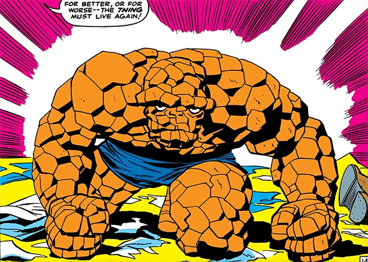 The Thing (Ben Grimm) transformed back to his rocky form