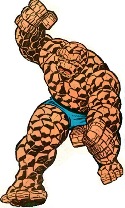 Classic Thing of the Fantastic Four (Marvel Comics) charging
