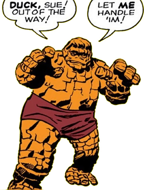 Early Thing of the Fantastic Four (Marvel Comics) advancing Frankenstein style