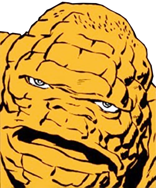 Early Thing of the Fantastic Four (Marvel Comics) face closeup