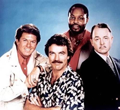 Thomas Magnum (Tom Selleck in Magnum PI) and friends