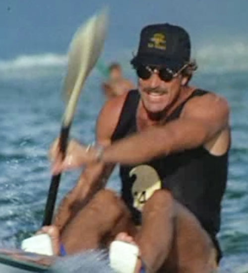 Thomas Magnum (Tom Selleck in Magnum PI) rowing paddling