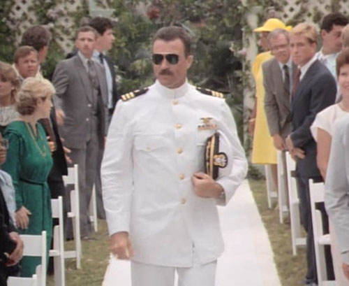 Thomas Magnum (Tom Selleck in Magnum PI) white Navy uniform