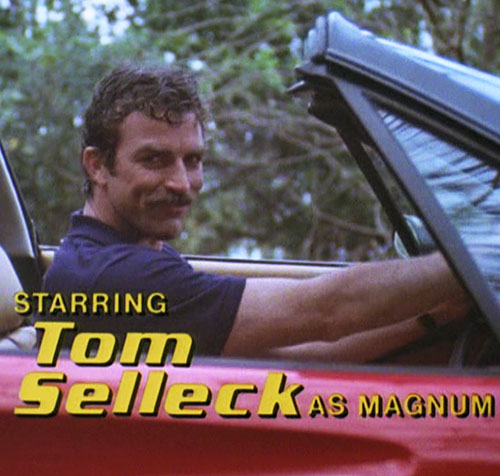 Thomas Magnum (Tom Selleck in Magnum PI) driving from the opening credits