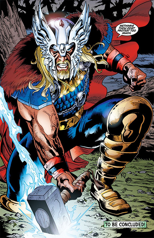 Thor (Marvel Comics) with beard and winged helmet