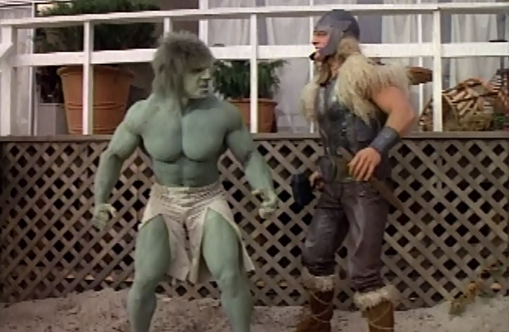 Thor (Eric Kramer) confronting the incredible Hulk (Lou Ferrigno)