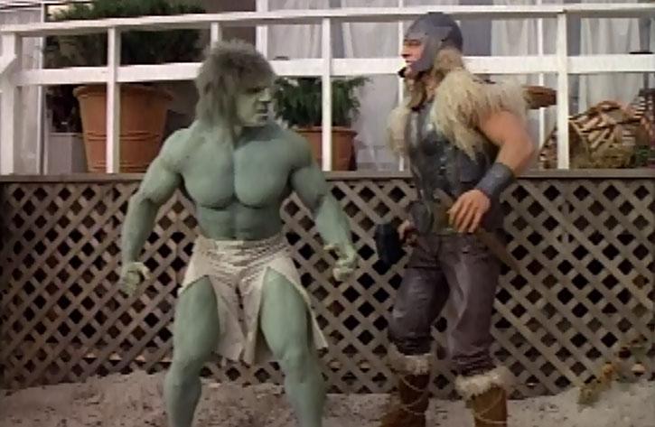 Thor (Eric Kramer) confronting the incredible Hulk (Lou Ferrigno)