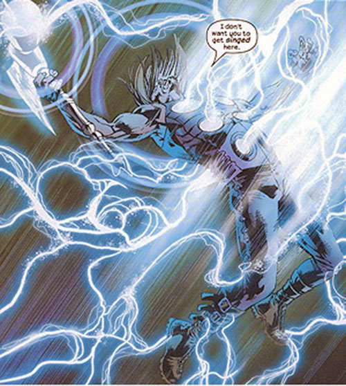 Ultimate Thor (Marvel Comics) amidst a lightning storm