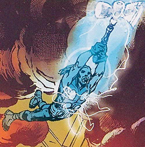 Ultimate Thor (Marvel Comics) flying in a light vortex