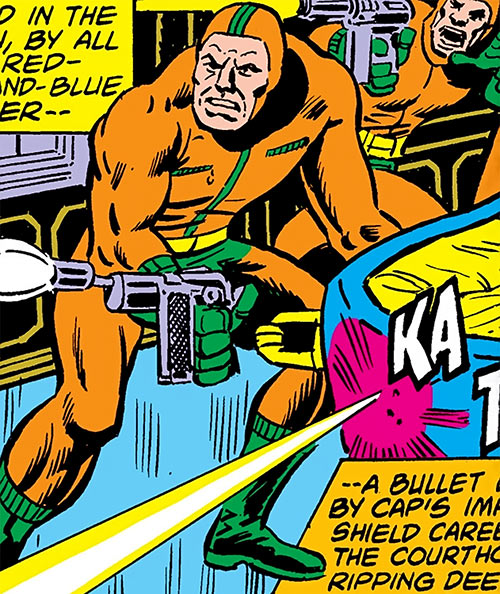 Henchmen in orange Spandex (Marvel Comics) shooting pistols