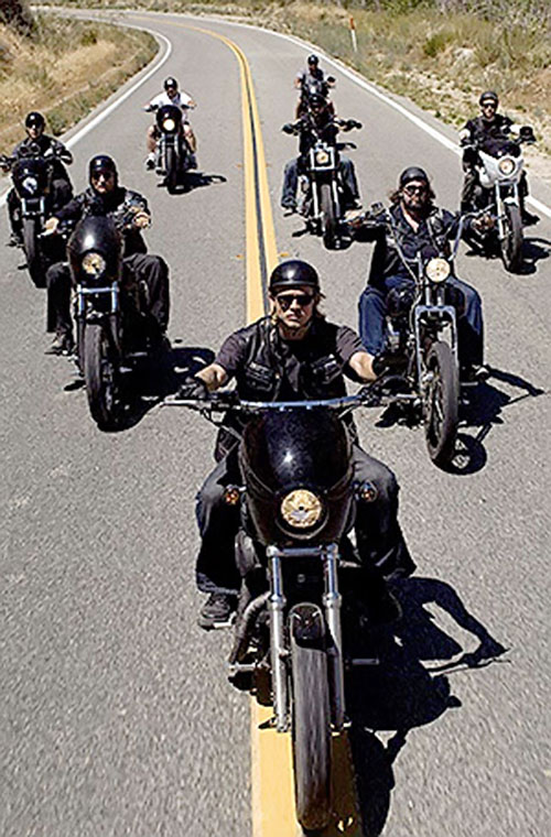 Motorcycle club on a rural road