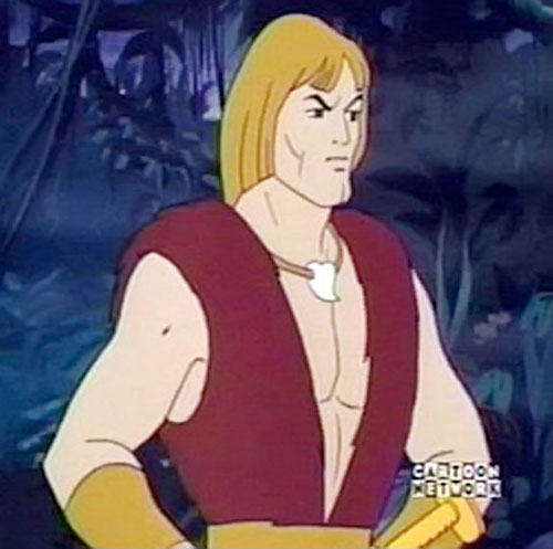 Thundarr the Barbarian in a swamp upper body shot